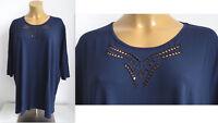 NEU Übergröße elegantes Damen Stretch Shirt d.blau dekorativer Ausschnitt Gr.62
