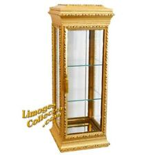 Italian Italy Gold Gilt Tall Square Vitrine Display Curio Cabinet Glass Shelves