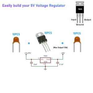 10 Piece  L7805CV L7805 7805 Positive Voltage Regulator 5V 1.5A TO-220 IC  (KIT)