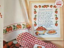 Strawberry Shortcakes Recipe & Lush Strawberry Cross Stitch Charts only