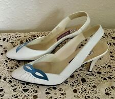 80's Vintage White Leather Slingback Heels