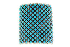 Alice Lister, Diamond Cluster Cuff, Blue Turquoise, Navajo Handmade, 6.75 in