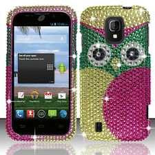 For Cricket ZTE Source N9511 Crystal Diamond BLING Phone Case Cover Green Owl