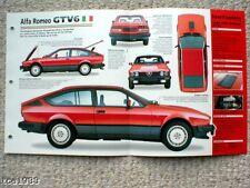 ALFA ROMEO GTV6 SPEC SHEET/Brochure/Flyer/Catalog:1986, '86
