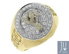 Masonic Logo Fashion Pinky Ring (0.91 Ct) 14k Solid Gold Mens Xl Round Diamond