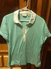 Clover by Bobby Jones Mint Green w/ White Stripes Women's Golf Shirt Size Medium