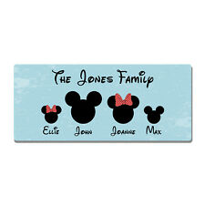 Metal Wall Sign - Personalised Disney Family Mickey Minnie Gift Plaque