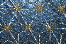 Sequin All Over Blue Mesh #100 2-Way Stretch Poly Lycra Fabric BT Half Yard