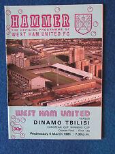 West Ham United V DINAMO TBILISI - 4/3/81-la CWC trimestre finale 1st Gamba programma