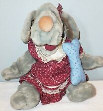 """GANZ WRINKLES Hand PUPPET 16"""" Vintage 1981 BONE Clothes Tags Plush GIRL Gray Toy"""