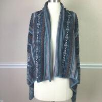 Coldwater Creek Womens Sweater Cotton Open Cardigan Fair Isle Waterfall Size M