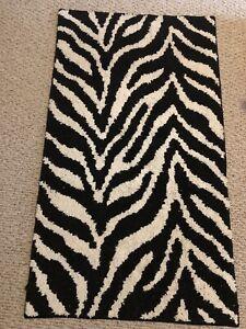 Zebra Black & White Carpet Area Rug