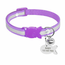Cat Collar Set Nylon Personalized Breakaway Cat Collar With Engraved Information