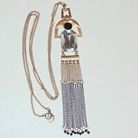 Gold tone black clear acrylic crystal long tassel pendant fashion necklace, 30""