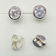 92.5% Sterling Silver Round Stud Earrings 4mm donut style
