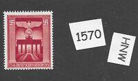 #1570    Nice MNH Brandenburg Gate stamp / 1943 Third Reich issue / WWII Germany