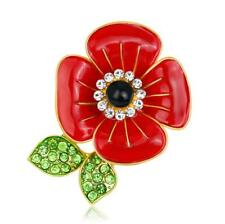 Luxury Shiny Red Poppy Flower Symbolic Brooch Poppies Remembrance Day Pin BR439