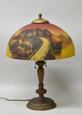 Antique Reverse Painted Castle Scene Table Lamp Phoenix Lamp Co.