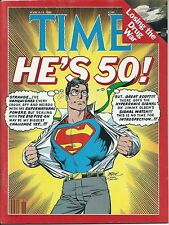 """1988 TIME Magazine March 14 SUPERMAN """"He's 50"""" - John Byrne Cover  BRAND NEW!!"""