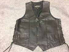Harley Unik Leather Motorcycle Vest 42 Black Pockets Lace Up Side