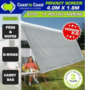 Awning SunScreen 4025mm Long X 1800mm high AND Side Sunscreen Suit 14' Awning