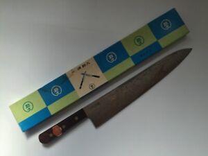 Japanese Kitchen Knife Gyuto Vintage Signed Sukehisa Blade Wooden Handle K414