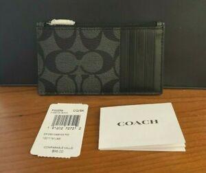 NWT $98 Coach 32256 Men's Zip Card Case Signature Canvas Charcoal / Black