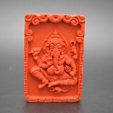 Carved Natural Red Cinnabar Ganesha Buddha Elephant Stone Pendant Jewelry