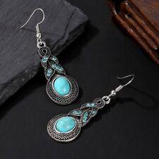 Tibetan Silver Turquoise Drop Dangle Earrings Jewellery + Free Gift Bag