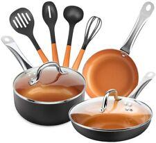 9 Pieces Copper Nonstick Pans Pots Ceramic Cookware Set.