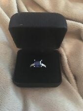 Simulated Sapphire and Diamonique Ring Size 6 - Free Shipping