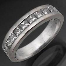Substantial 18k Solid White GOLD 10 Princess Diamond Eternity Band Ring  Sz N1/2