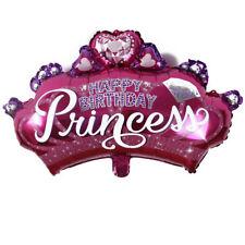 1x Pink Crown Princess Birthday Party Decoration Supplies Round Foil Balloon Top