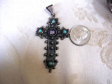 STUNNING STERLING SILVER TURQUOISE AMETHYST LARGE DETAILED CROSS PENDANT