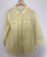 Croft & Barrow Eyelet Shirt Women XLarge Yellow3/4 Sleeve Roll up Tab Top Blouse