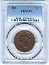 1854 LARGE CENT PCGS F15