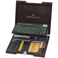 #112971 Faber Castell Wenge Wood Case 86 Pitt Monochrome Assortment Artists Set