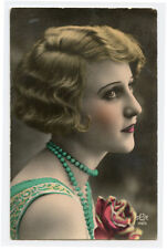 1920s French Glamour BEAUTIFUL LADY Flapper Fashion Deco Tinted photo postcard