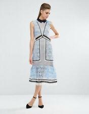 Stylish Self Portrait Lace Panel Blue/Black/White Dress Size UK 8 US 4