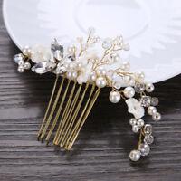 Wedding Bridal Crystal Pearl Flower Hair Comb Jewel Hair Piece Slide Clip Party