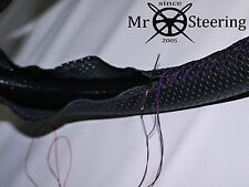 FITS CITROEN SAXO PERFORATED LEATHER STEERING WHEEL COVER PURPLE DOUBLE STITCH