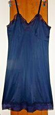 Vintage Artemis dark blue nylon full slip w/ lace embellishment Plus sz 44B, EUC