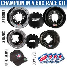 "DWT Champion in a Box 10"" Front 8"" Rear Rims Silver Beadlock Rings TRX 250 450R"