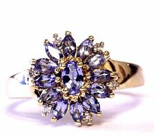 14k yellow gold cz cluster ring 3.8g vintage estate antique womans ladies