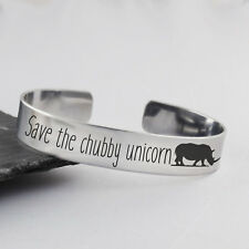 Save the Chubby Unicorn Cuff Bracelet - Stainless Steel - Jewelry Rhino Engraved