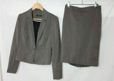 Portmans 10 12 Suit Grey Blazer Skirt Pleated Corporate Office Career Zip