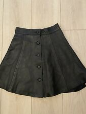 BLACK REAL LEATHER SKIRT FLARED S or 4/6 SUMMER WINTER WORK XMAS PARTY CLUB BOHO