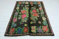 """Anatolia Kilim Rugs Black Colored Shaggy Carpet Floral Designed  Rug 58,6""""X77,1"""""""