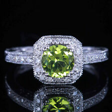 VINTAGE ANTIQUE 10K WHITE GOLD GENUINE PERIDOT & DIAMOND RING