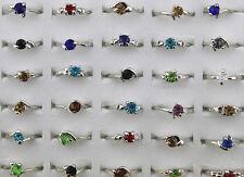 Job lots 100pcs cristal strass coloré lady's sliver plaqué anneaux